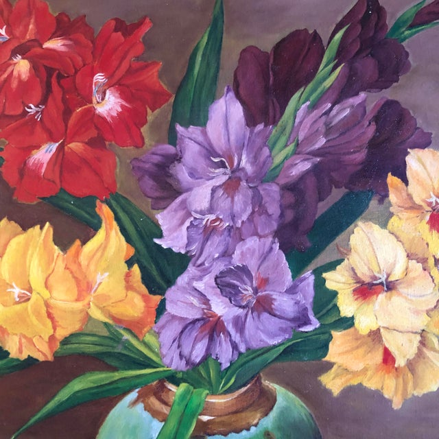 A beautiful still life oil painting by Ed Monroe. Gladiolus in a celadon vase, grapes and cherries spilling from a blue...