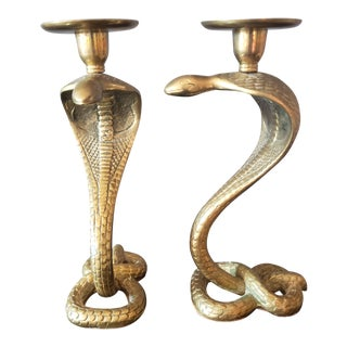 Vintage Brass Cobra Candleholders - a Pair For Sale