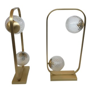 Lot of 2 Vintage Style Table Lamp in Brushled Gold and Murano Glass Balls For Sale