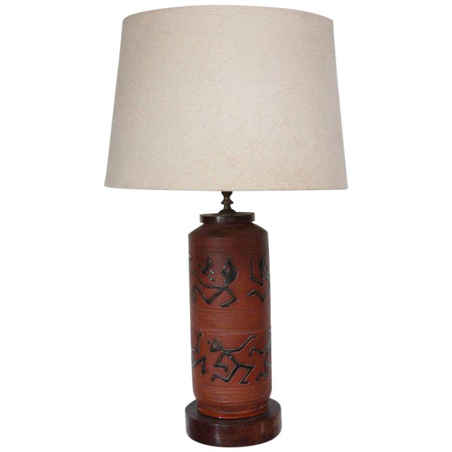 Rust Red Ceramic Table Lamp with Primitive Motif - Image 1 of 9