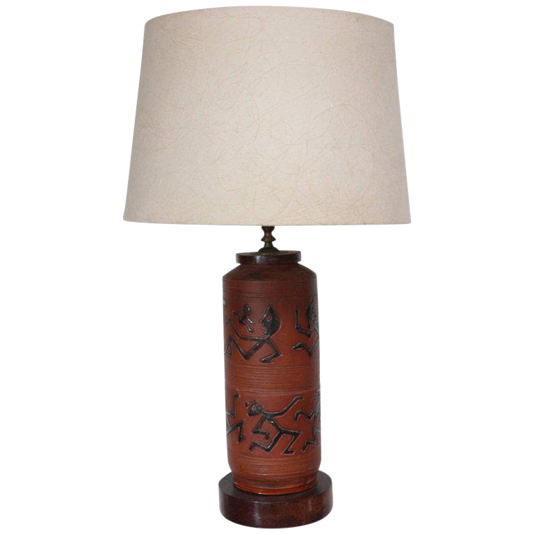 Rust Red Ceramic Table Lamp With Primitive Motif For Sale