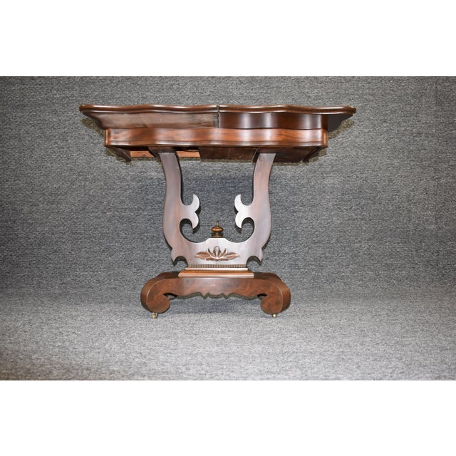 Antique Empire 1830s Mahogany Lyre Base Game Table For Sale - Image 4 of 11