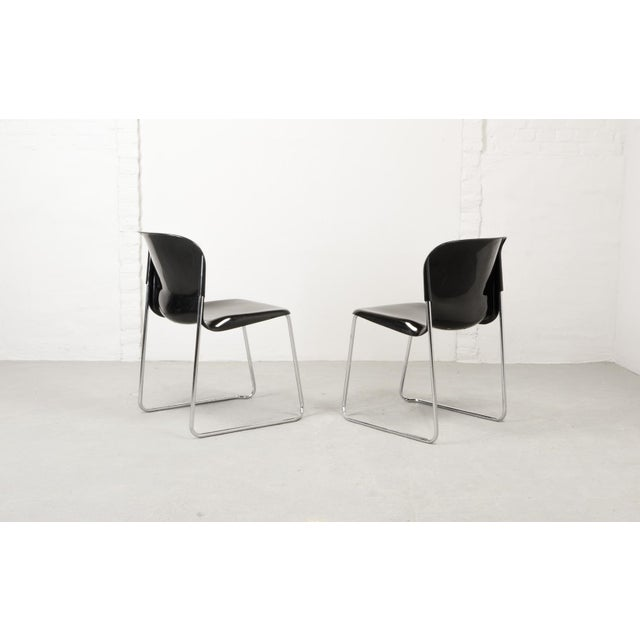 Drabert Set of Ten Mid-Century Design Black Stackable Dining Chairs by Gerd Lange for Drabert, Germany, 1980s For Sale - Image 4 of 10