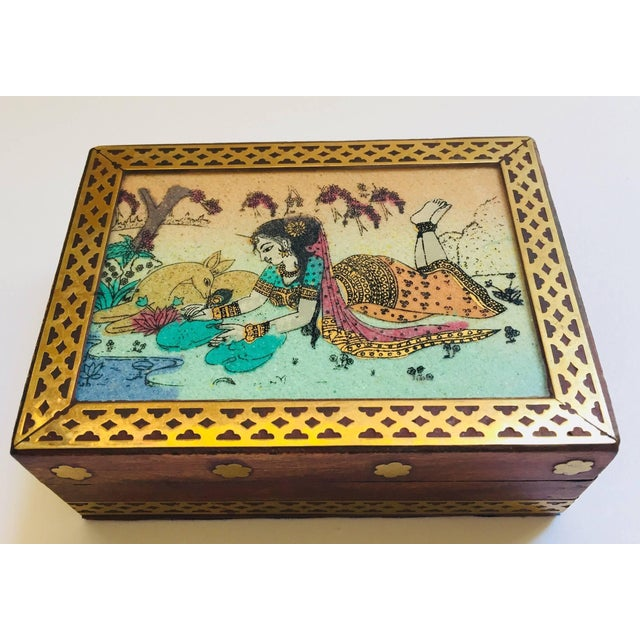 Anglo-Raj Wood and Brass Box With Hand-Painted Scene For Sale - Image 10 of 10