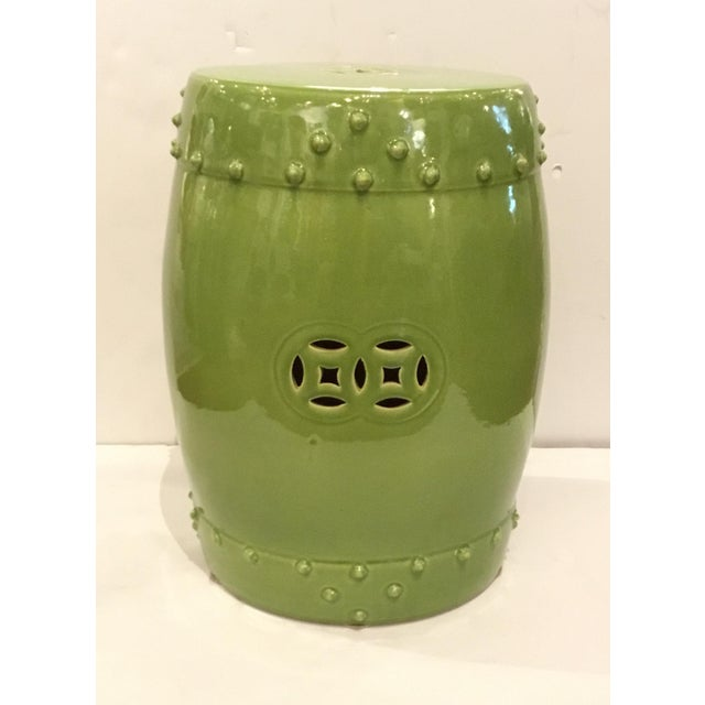 2010s Asian Modern Drum Lime Glaze Garden Stool For Sale - Image 5 of 5