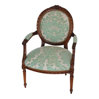 Antique Italian Carved Hardwood/Oak & Mariano Fortuny Vivaldi Fabric Armchair For Sale