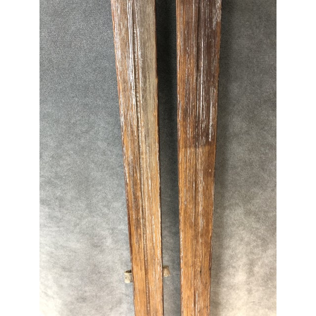 Vintage Rustic Wood Skis - a Pair For Sale - Image 6 of 13