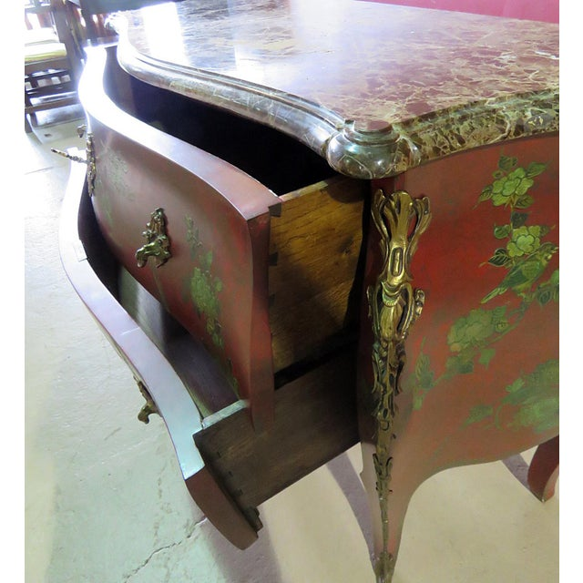 Metal Marble Top Green Paint Decorated Bombe Red Commode For Sale - Image 7 of 11