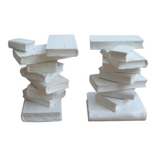 Trompe l'Oeil Stacked Library Book Pedestals for Side Tables, Coffee Table or Bench, a Pair For Sale