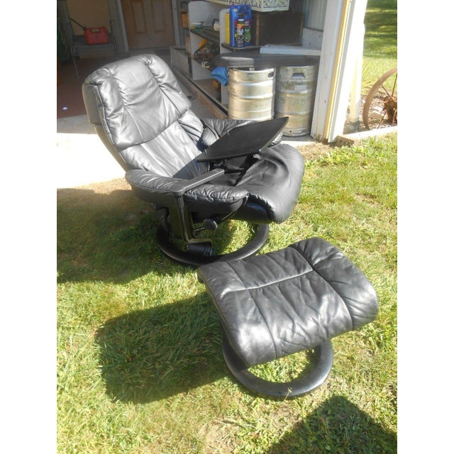 Ekornes Stressless Recliner & Ottoman For Sale - Image 9 of 11