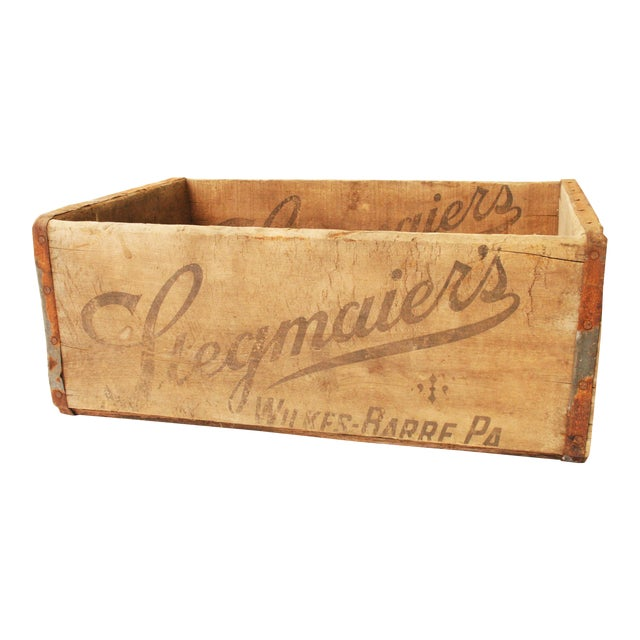Vintage Rustic Stegmaier's Brewery Wood Crate For Sale
