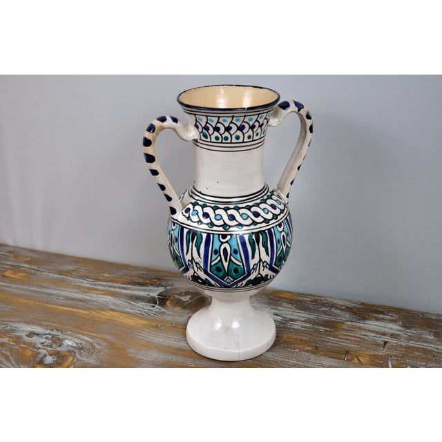 Handpainted Vintage Italian Blue and White Decorative Vase For Sale - Image 9 of 13