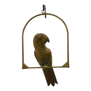 1970s Vintage Sergio Bustamante Brass and Copper Parrot For Sale