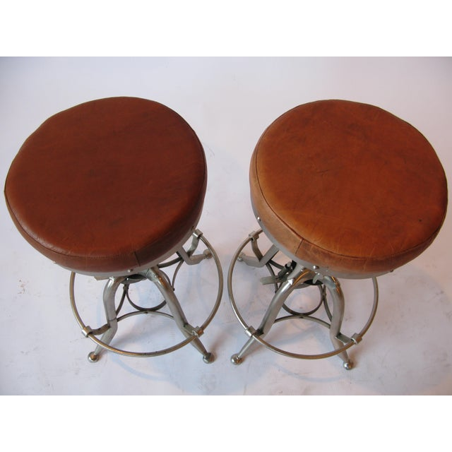 Industrial Pair of Silver Tri Leg Stools For Sale - Image 3 of 7