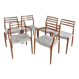 1970s Vintage J L Moller Danish Dining Chairs # 78 and # 62 - Set of 6 For Sale