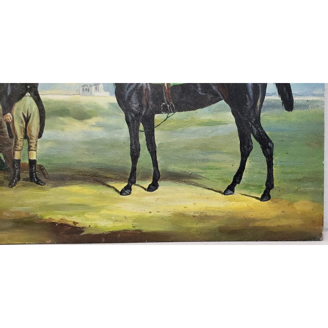 """Realism Early 20th Century """"Horse and Rider"""" Original Oil Painting For Sale - Image 3 of 8"""
