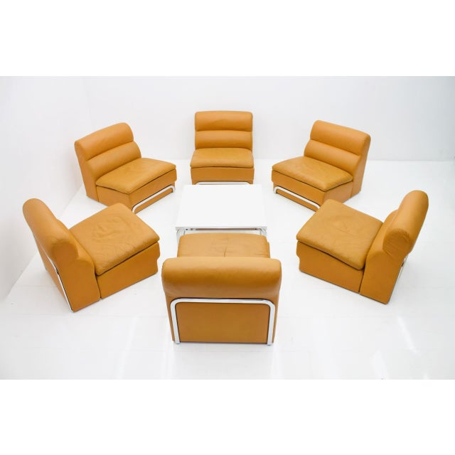 Mid-Century Modern Modular Seating Group & Coffee Table Leather Sofa by Horst Brüning for Kill 1970 For Sale - Image 3 of 12