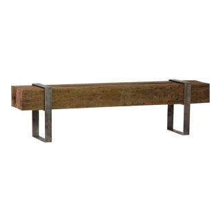 Reclaimed Block and Iron Bench