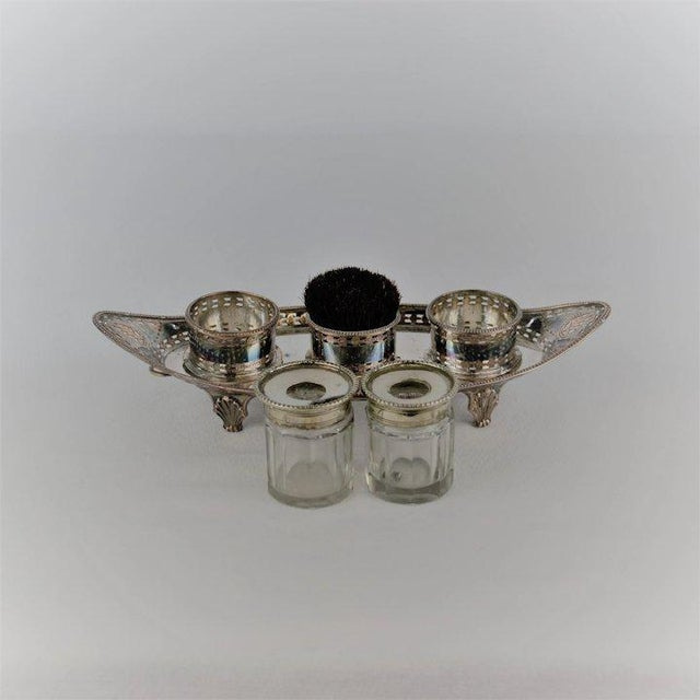 Metal Silver Double Inkwell with Pen Brush For Sale - Image 7 of 11