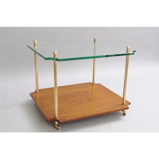 Mid Century Modern Walnut Brass Glass Table - Image 3 of 11