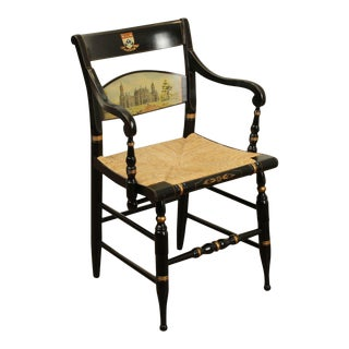 Hitchcock University of Pennsylvania Painted Rush Seat Armchair For Sale