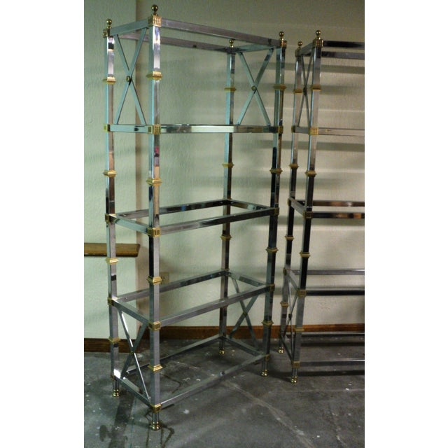 Jansen Style Neoclassical Chrome Etageres - Pair - Image 5 of 7
