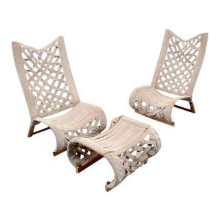 Pair of Marzio Cecchi Lounge Chairs & Ottoman