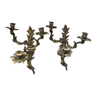 Pair of Glo-Mar Artworks Brass Louis XV Style, Three-Light Candle Wall Sconces For Sale
