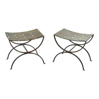 Pair Rustic Brutalist Industrial Woven Metal Benches Stools Ottomans For Sale