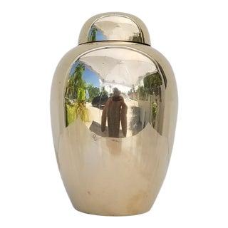 Vintage Chinoiserie Solid Brass Polished Ginger Jar/Vase For Sale