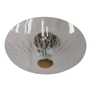 1950s Lightolier Brass Ceiling 3 Light Fixture With Shade For Sale