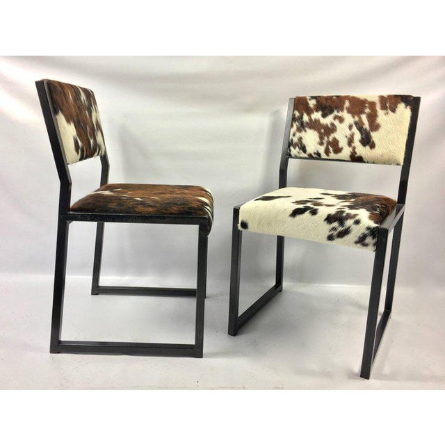Animal Skin Pony Skin Blackened Steel Frame Dining Chairs - Set of 4 For Sale - Image 7 of 10