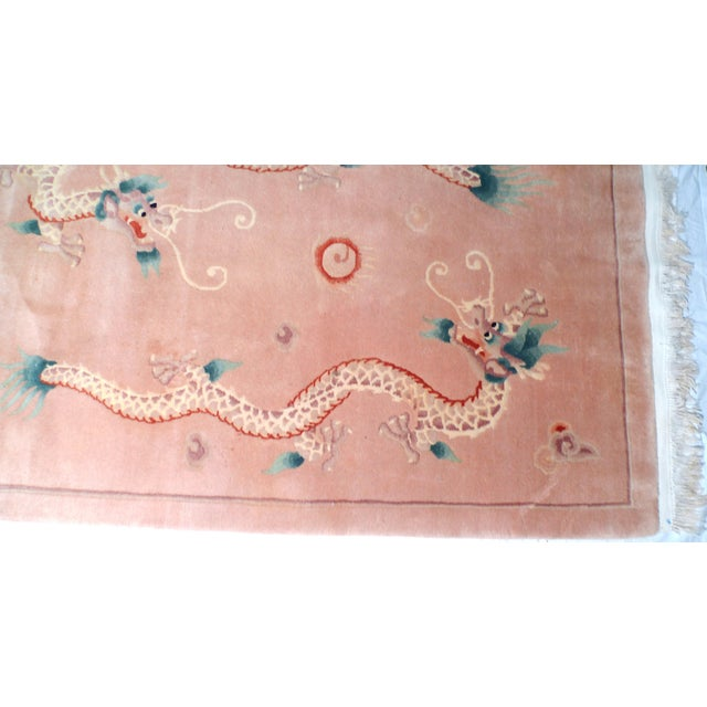Early 20th Century Art Deco Chinese Dragon Rug-4′ × 6′9″ For Sale - Image 4 of 8
