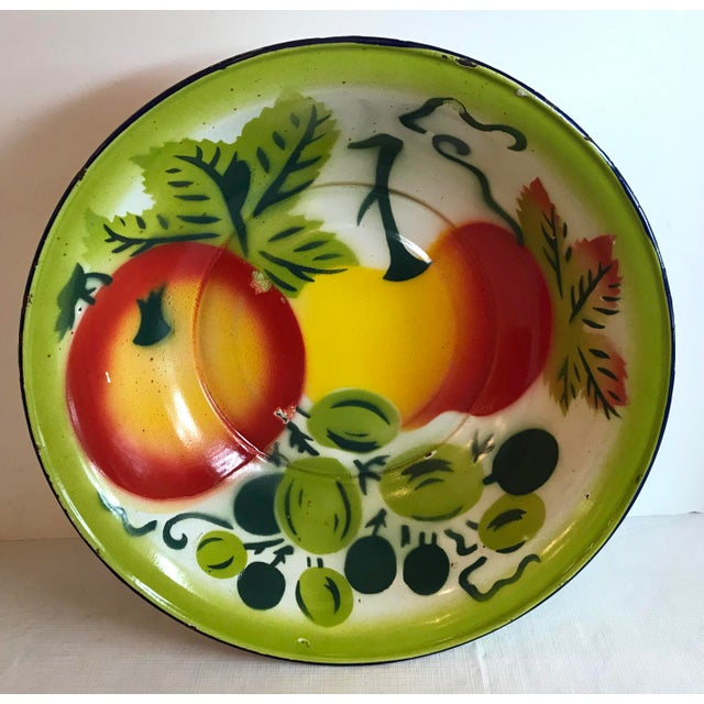 Paint Vintage Mid Century Enamel Vegetable Bowl For Sale - Image 7 of 7