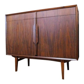 Mid Century Modern Black Walnut Bar Credenza Cabinet For Sale