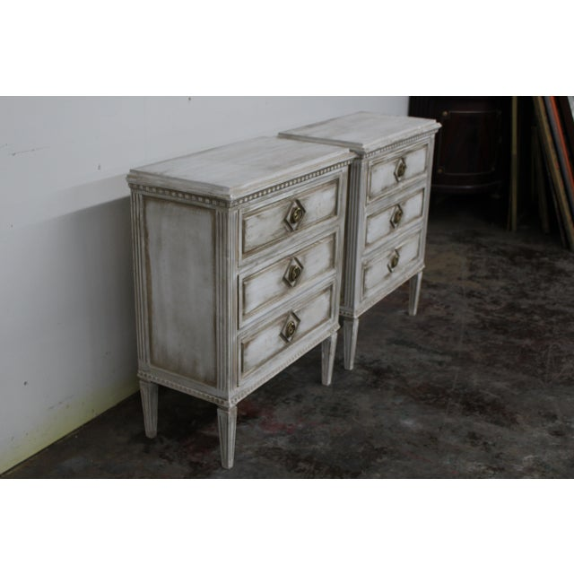 20th Century Vintage Swedish Gustavian Style Nightstands - a Pair For Sale - Image 4 of 11