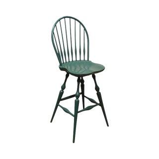 Nichols & Stone Green Painted Windsor Swivel Barstool For Sale