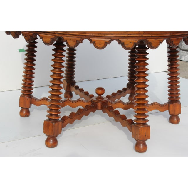 Wood 1980s Spanish Parquetry Table For Sale - Image 7 of 8