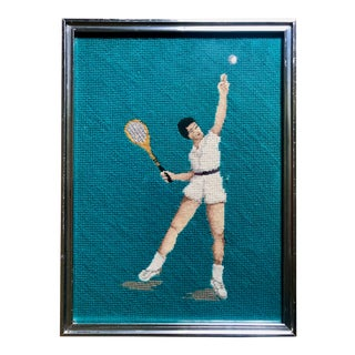 "Framed Retro ""Tennis Player"" Needlepoint Art"