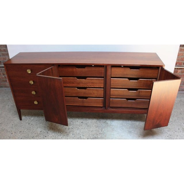 Mid-Century Walnut and Brass Credenza after Paul McCobb - Image 8 of 10