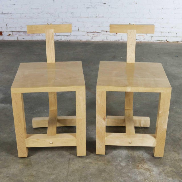 Pair Post-Modern Hand-Crafted Maple Chairs Signed Brice B. Durbin 1996 For Sale - Image 6 of 13