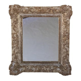 Small Scale Carved Silver Gilt Mirror Frame; French, Circa 1870. For Sale