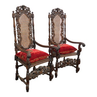 Vintage Spanish Revival Cane Throne Accent Chairs - a Pair