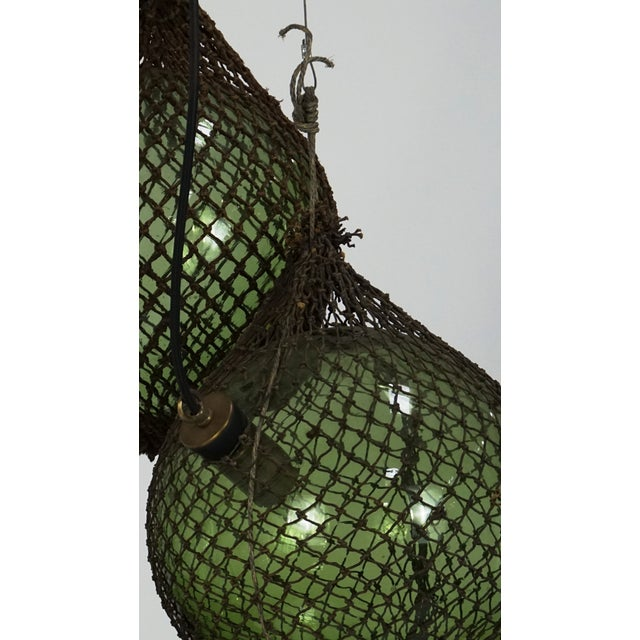 Antique Japanese Green Glass Fishing Floats 3-Light Pendant For Sale - Image 4 of 9
