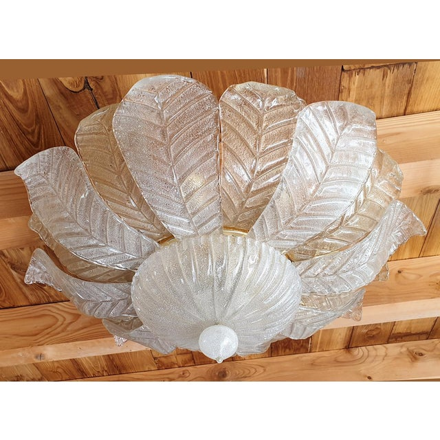 Mid Century Modern Leaf Murano Glass Flush Mount Light by Barovier 1960- 2 Available For Sale - Image 11 of 11