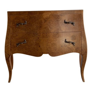 Italian Burlwood Chest of Drawers For Sale