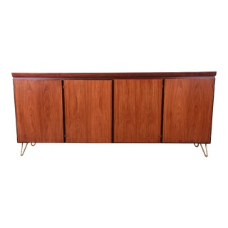 Skovby Danish Modern Rosewood Sideboard Credenza on Hairpin Legs, Newly Refinished For Sale