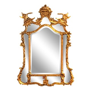 18th Century Vintage Chinese and Rococo Chippendale Style Giltwood Mirror For Sale