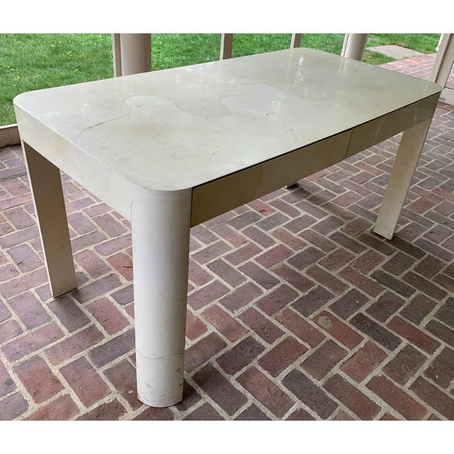 1970s 1970s Vellum Covered Writing Desk For Sale - Image 5 of 5