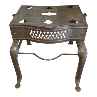 1800s New England Antique Wrought Iron Decorated Fireplace Hearth Footman Trivet For Sale